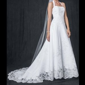 A-line Wedding Gown- Halter w/ beaded lace
